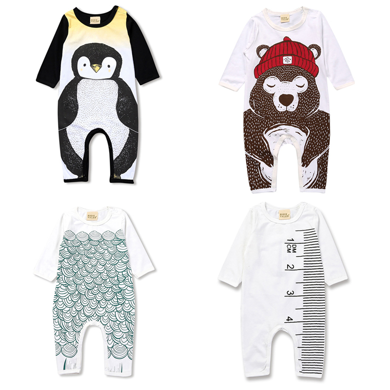 2017 Spring newborn baby boy sliders girl clothes Bear penguin Pattern children's pajamas toddler long sleeve clothes suit SR215 пинетки митенки blue penguin puku