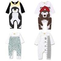 2017 Spring Newborn Baby Boy Sliders Girl Clothes Bear Penguin Pattern Children S Pajamas Toddler Long
