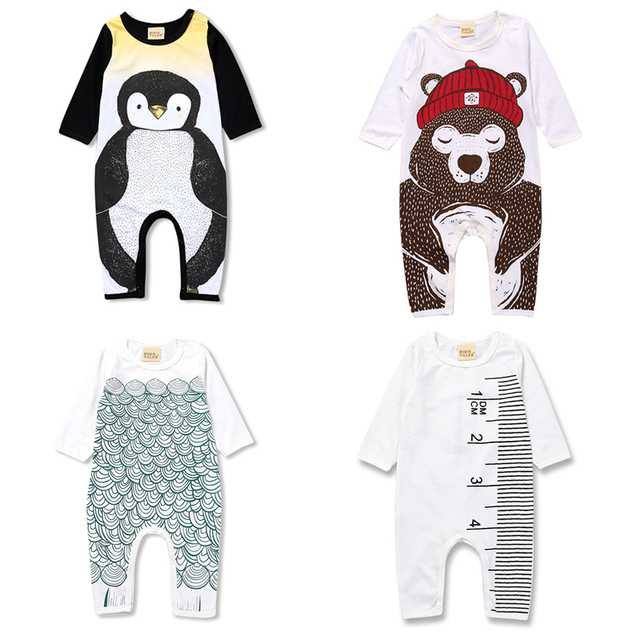 7572b4fc968bb2 R$ 32.25 25% de desconto 2018 Primavera do bebê recém nascido menino  sliders menina roupas Urso Padrão pinguim pijamas das crianças criança ...