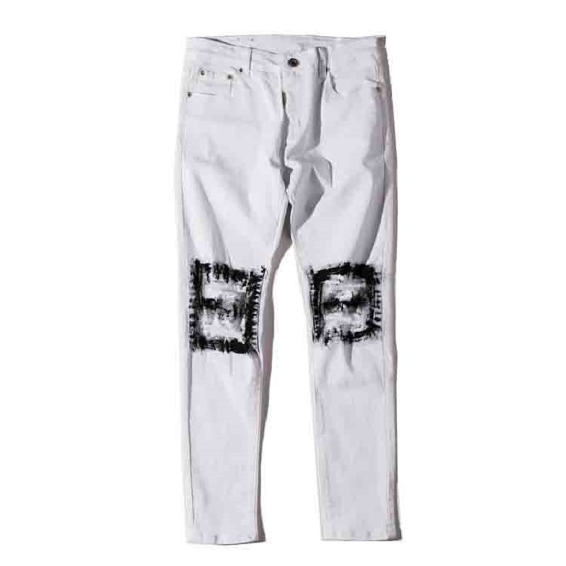 Ripped On Knee Denim Pants Men Coated On The Hole Slim Fit Men S