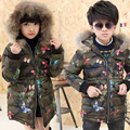 Winter Fur Hooded Jackets For Boys Cotton Padded Coats Thickeing Warm Children Parka Patches Teenage Kids Outerwear 3-13Y