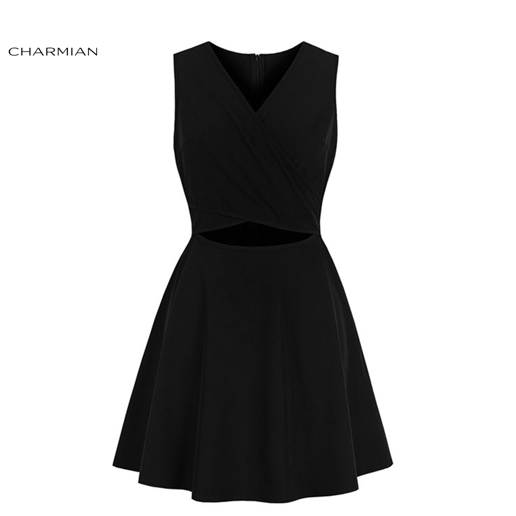 Charmian Women's Sexy Pure Black Deep V Neckline Summer Hollow Out Sleeveless High Waist Dress
