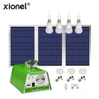 Xionel Solar Panel Lighting Kit, Solar Home DC System Kit, USB Solar Charger with 4 LED Light Bulb as Emergency Light