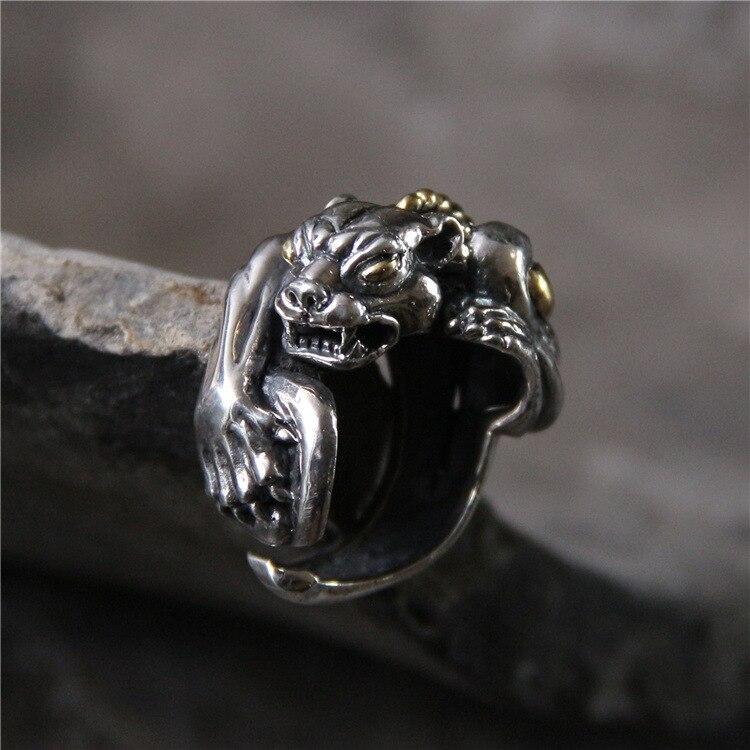 S925 pur argent exagéré dominateur personnalité léopard homme anneau