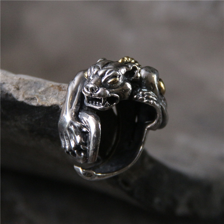 S925 pure silver exaggerated domineering personality leopard man ring s925 pure silver personality female models new beeswax