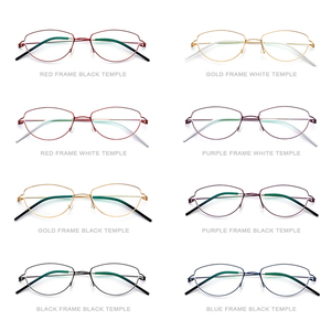 Image 4 - Montura de gafas de aleación de titanio de Ojos de gato sin tornillos para mujer, gafas graduadas para miopía, gafas coreanas de Dinamarca 98616