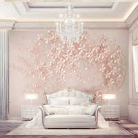 Decorative wallpaper Rose gold flowers luxury and elegant 3d stereo TV background wall