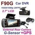 Excelente! F90G Dual lens Câmera Do Carro DVR Gravador G-sensor Full HD 1080 P 20FPS 2.7 ''LCD 140 graus lens H.264 Carro dvr câmera