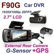 Отлично! F90G ДВУМЯ ОБЪЕКТИВАМИ Автомобильный ВИДЕОРЕГИСТРАТОР Camera Recorder G-sensor Full HD 1080 P 20FPS 2.7 «ЖК 140 градусов объектив H.264 Автомобильный видеорегистратор камера