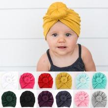 Newborn Infant Toddler Baby Cap Cotton Tie Knot India Pure Hat Beanie Cap Winter Headwear Winter Turban Hats headband bonnet