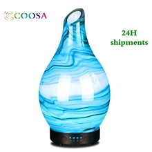 COOSA 100ml Glass Marble Pattern Essential Oils 7 Colorful Light Lamp Aroma Diffuser Cool Mist Humidifier for Home and Office
