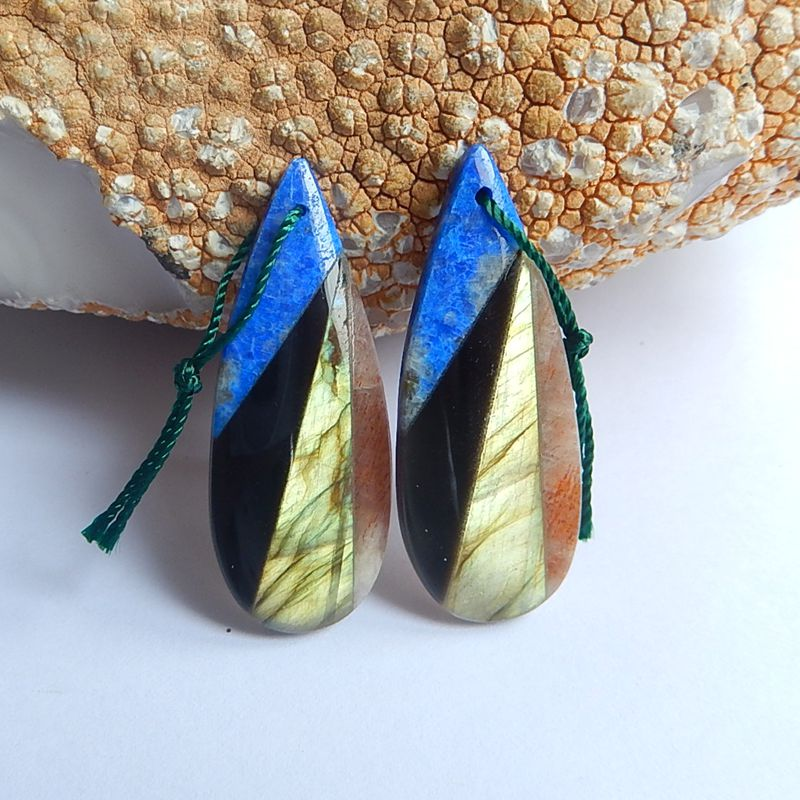 Natural Stone Gemstone Water Drop Lapis Lazuli obsidian Labradorite Sun stone Earrings bead 39x15x5mm 7.8g Beauty Women earrings