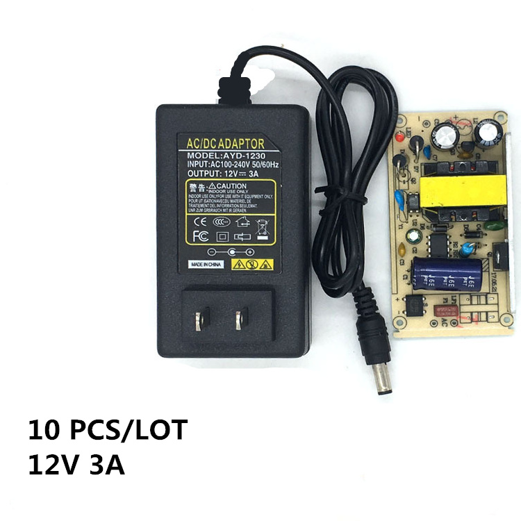 10PCS good sale 12V 3A AC/DC Power Adapter Supply Charger US Plug 5.5 x 2.1mm Switching  for led light lamp monitor