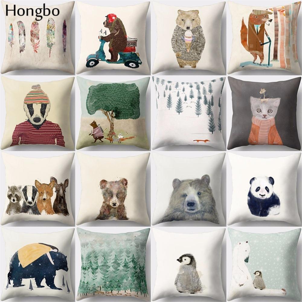 Hongbo 1 Pcs Pillow Case Cushion Cover Polyester Peach Skin For Car Sofa Home Decor Feather Cute Cartoon Penguin Dog Elephant