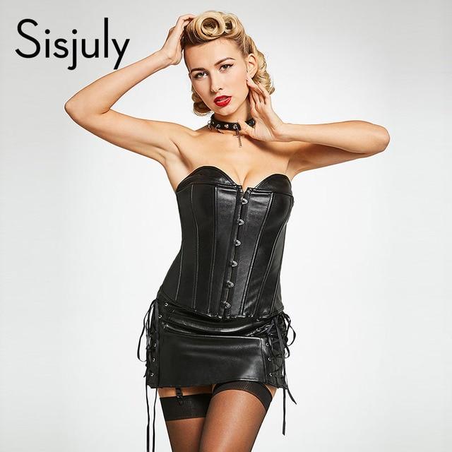 262c55f439e Sisjuly women Corsets Bustiers strapless sexy corsets leather bodysuit  zipper plain tight lace bustiers and leather corsets