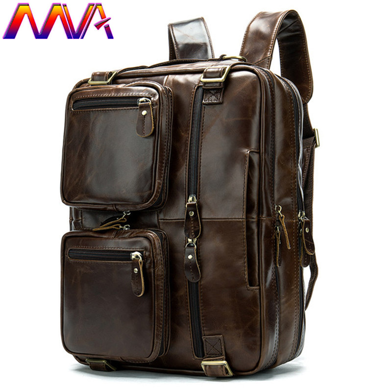 MVA Genuine Leather Men Travel Bag Multi Function Luggage Travelling Bag Newly Arrival Fashioin Cow Leather Men`s Backpack