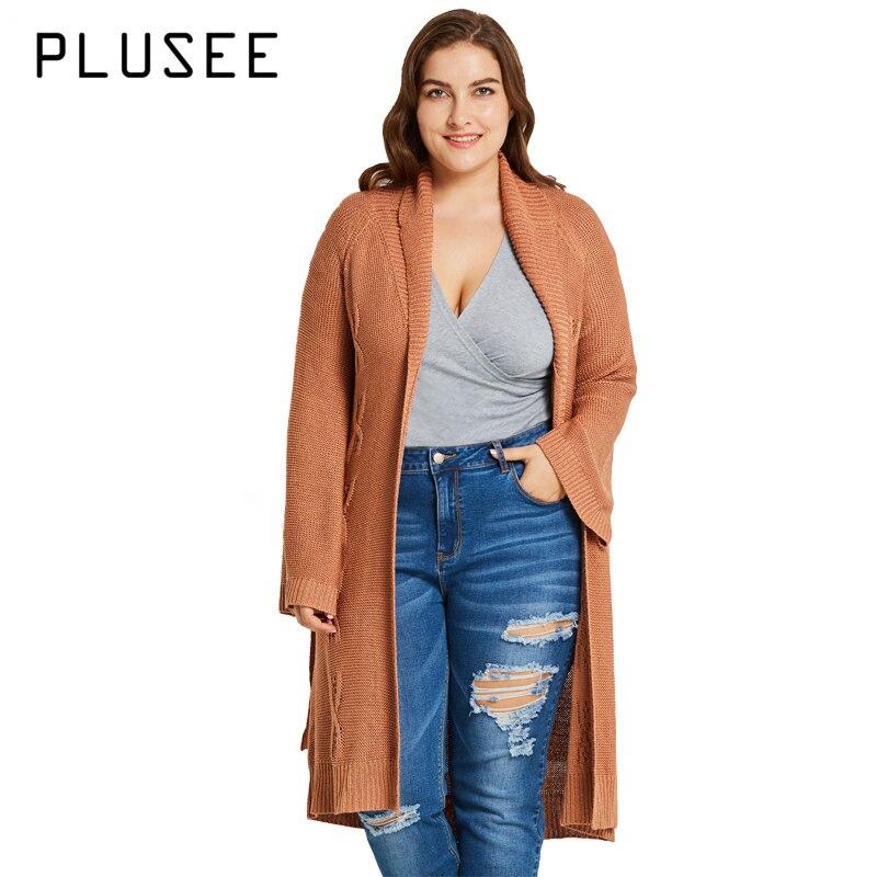 PLUSEE femmes automne hiver décontracté grande taille Long chandail Cardigan kaki grande taille tricoté porter Flare manches criss-cross XL XXL XXXL