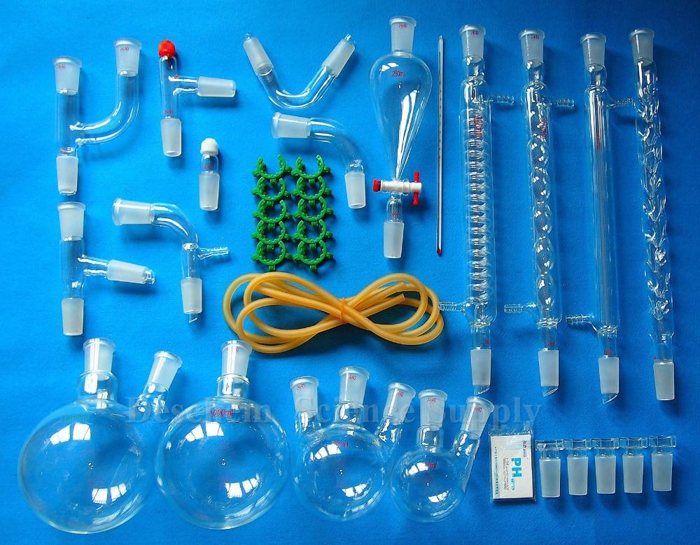 24 40 35PCS New Advanced Organic Chemistry Glassware Kit Laboratory Glass Unit