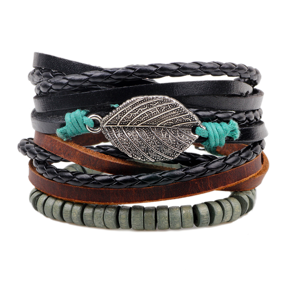 Leaf Bracelets for Women Men Beads Wristband Cuff Leather Bracelet Men  2017 Ethnic Vintage Jewelry Bijouterie Friendship Gift