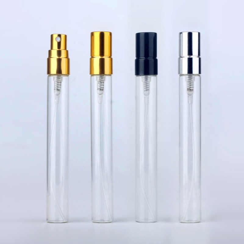 Botella de Perfume recargable de vidrio portátil de 10ml con atomizador de aluminio botella de Spray de muestra de regalo caja de Perfume vacío para el viajero