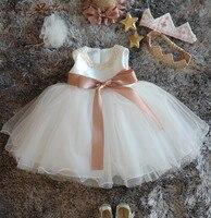 Bling Beaded Flower Girl Dress Infant newborn christening dress baptism gown baby Birthday Dress 1 Year princess with hat sash
