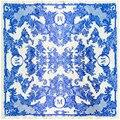 [Lesida] clásico de la bufanda de seda de las mujeres azul y blanco porcelana imprimir floral chal bufanda cuadrada de origen chino para damas 90*90 cm 9111