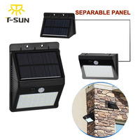 T SUNRISE 28 LEDs Solar Lamp Light Motion Sensor With Separable Solar Panel Outdoor Lighting Waterproof