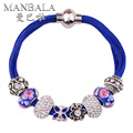 MANBALA Bracelet 2016 with Fine Azure Stone Crystal Beads Silver Plated Women Colorful Bracelet & Bangles Lucky Jewelry H00AJ