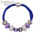 MANBALA Pulsera 2016 con Fina Azul Bolas de Cristal de Piedra Plateado Plata de Las Mujeres Colorido Bracelet & Bangles Joyería Afortunada H00AJ