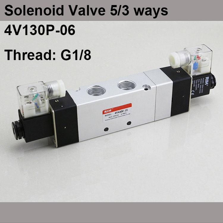 G1/8 4V130P-06 3 Position 5 Way Air Solenoid Valves Pneumatic Control Valve , DC12v DC24v AC 24V AC110v 220v 4v130 06 dc24v 1 8 bspt 3 5way medium closed control solenoid magnetically air pneumatic valve