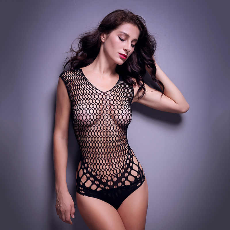 0d2b05c0f13 Europe and the United States backless sexy tight mesh conjoined transparent  fun pajamas
