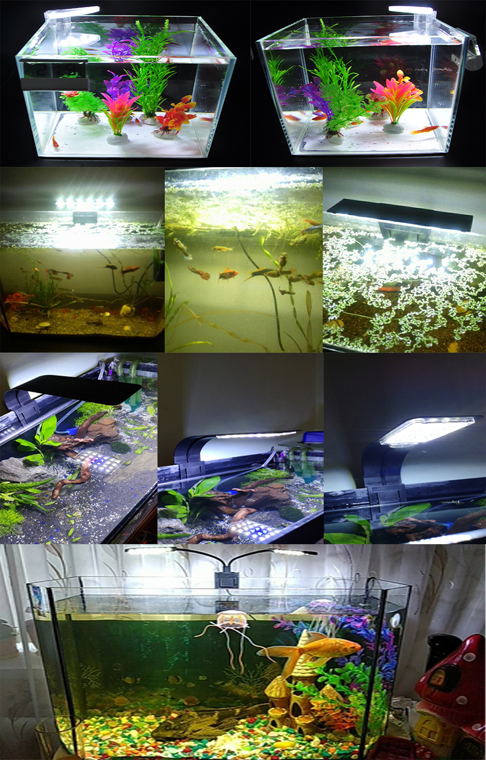 Super Bright LED Aquarium Lights LED Plants Grow Light 5W/10W/15W Aquatic Freshwater Lamps Waterproof Clip on Lamp For Fish Tank 28