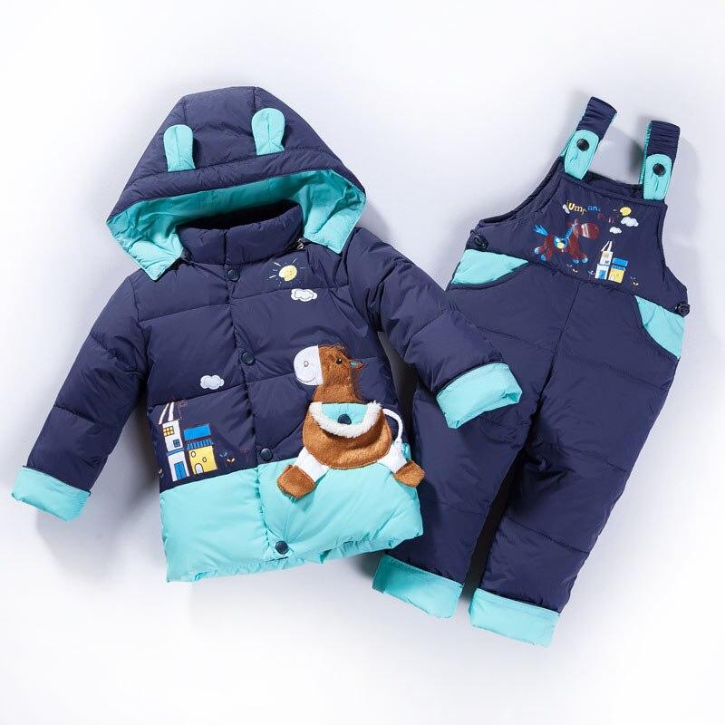 2020 Winter Baby Kids Cartoon Duck Down Jacket Set Pants-Jacket Autumns Boy Clothing Parka Hoodies Outerwear Girls Coat Jackets