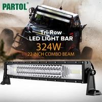 Partol 22 324W Tri Row Curved LED Light Bar Offroad Work Light Spot Flood Combo Beam