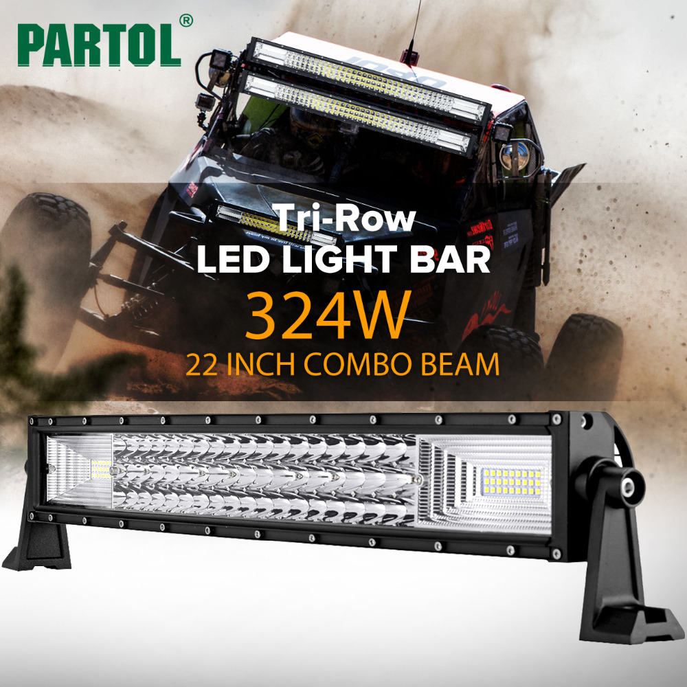 Partol 22 324W Tri-Row Curved LED Light Bar Offroad Work Light Spot Flood Combo Beam 4X4 4WD LED Bar 12V 24V for Jeep SUV Truck oslamp 22inch 324w tri row straight led light bar chips led work light combo beam 12v 24v truck suv 4wd 4x4 offroad led bar