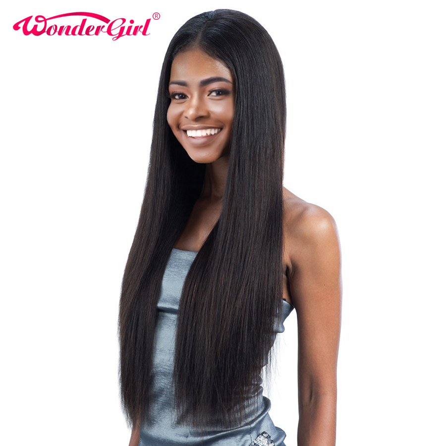 Wonder Girl Pre Plucked Full Lace Mänskliga Hårperor För Svarta Kvinnor Remy Brazilian Straight Lace Paryk Med Baby Hair No Shedding
