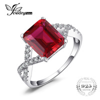 JewelryPalace Emerald Cut 4 6ct Created Red Ruby Promise Ring 925 Sterling Silver Rings For Women