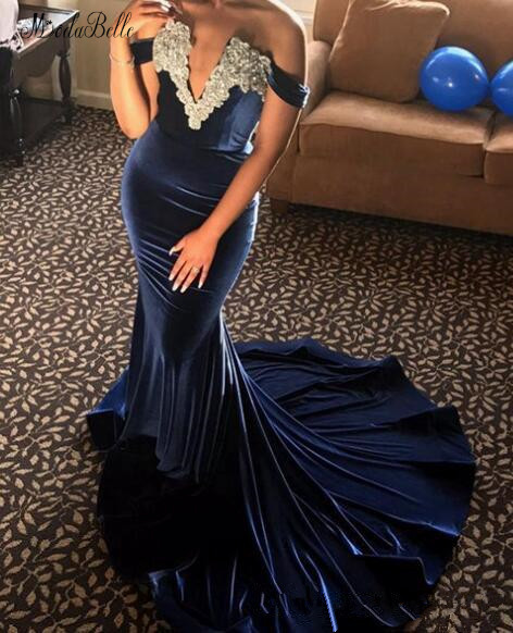 modabelle Navy Blue Velvet Prom Dress Robe De Soiree Appliques Lace V neck Mermaid Prom Dresses Long Elegant Bestidos De Gala