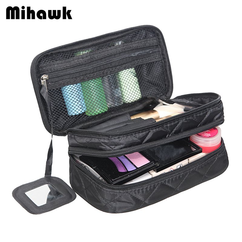 4d96bea265d2 Mihawk Double Layer Cosmetic Bag With a Mirror Travel Organizer Functional Makeup  Pouch Toiletry Brush Vanity Case Accessories