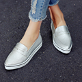 2016 Silver Ladies Shoes Woman Shoes Woman Pumps PU leather Platform Wedge High Heel Women Casual Shoes Size 34-39