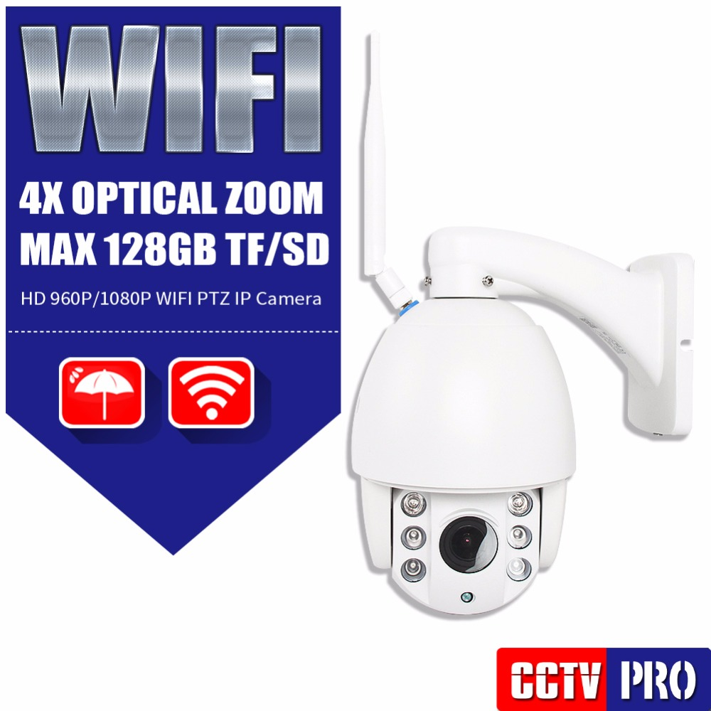 HD 1080P 960P Wifi PTZ Dome IP Camera CCTV 4X Zoom Auto Focus Lens Outdoor Wireless Camera IR 60m Onvif SD Card CamHi P2P View 2016 outdoor 1080p wifi ptz camera array ir 2 8 12mm lens 4x optical zoom auto focus waterproof speed dome cam support sd card