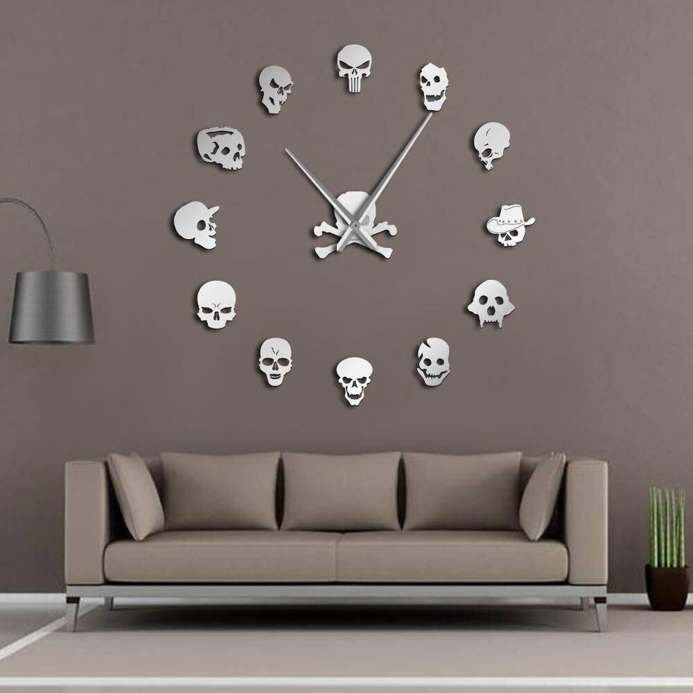 Diferentes cabezas del cráneo DIY Horror arte Reloj de pared gigante aguja grande sin marco zombi cabezas gran pared reloj decoración de Halloween
