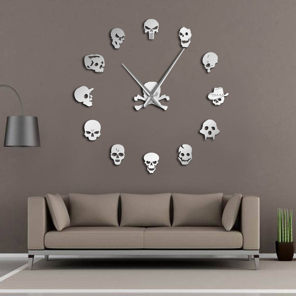 Different Skull Heads DIY Horror Wall Art Giant Wall Clock Big Needle Frameless Zombie Heads Large Wall Watch Halloween Decor