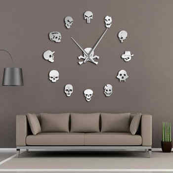 Different Skull Heads DIY Horror Wall Art Giant Wall Clock Big Needle Frameless Zombie Heads Large Wall Watch Halloween Decor - DISCOUNT ITEM  0% OFF All Category