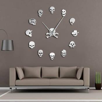 Diverse Teste Del Cranio FAI DA TE Horror di Arte Della Parete Gigante Orologio Da Parete Grande Ago Frameless Zombie Teste Grande Orologio Da Parete Decorazione Di Halloween