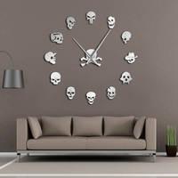 Verschiedene Schädel Köpfe DIY Horror Wand Kunst Riesigen Wanduhr Große Nadel Rahmenlose Zombie Köpfe Große Wand Uhr Halloween Decor-in Wanduhren aus Heim und Garten bei