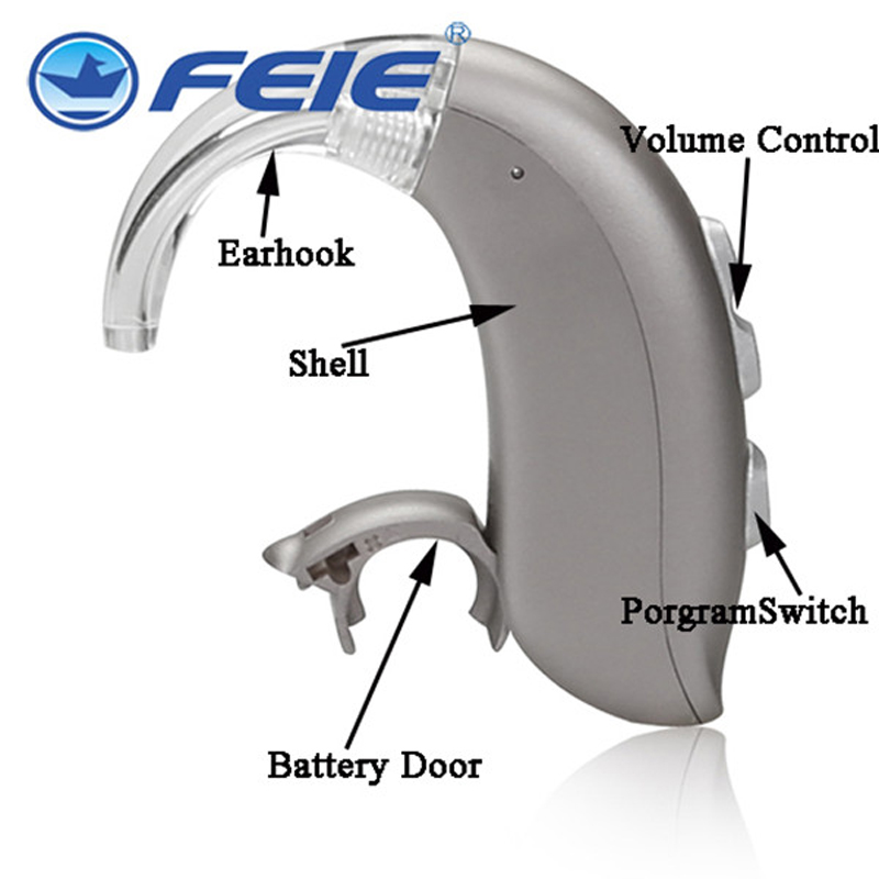 Hearing Amplifier 4 Channels Mini Digital Hearing Aids Elderly Deaf Assistance MY-16S Apart Ear Hook Double Pieces programmable digital 6 channels ric reaceiver in the ear canal hearing aids with battery 312 my 19