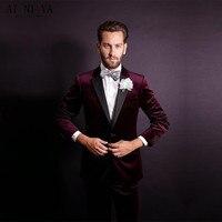 החדש Custom Made שחור/אדום/צהוב הקטיפה מפלגה לנשף 2 PC חליפת שושבין החתן טוקסידו חליפות החתונה של גברים הטוב ביותר גברים מותאם (מעיל + מכנסיים)