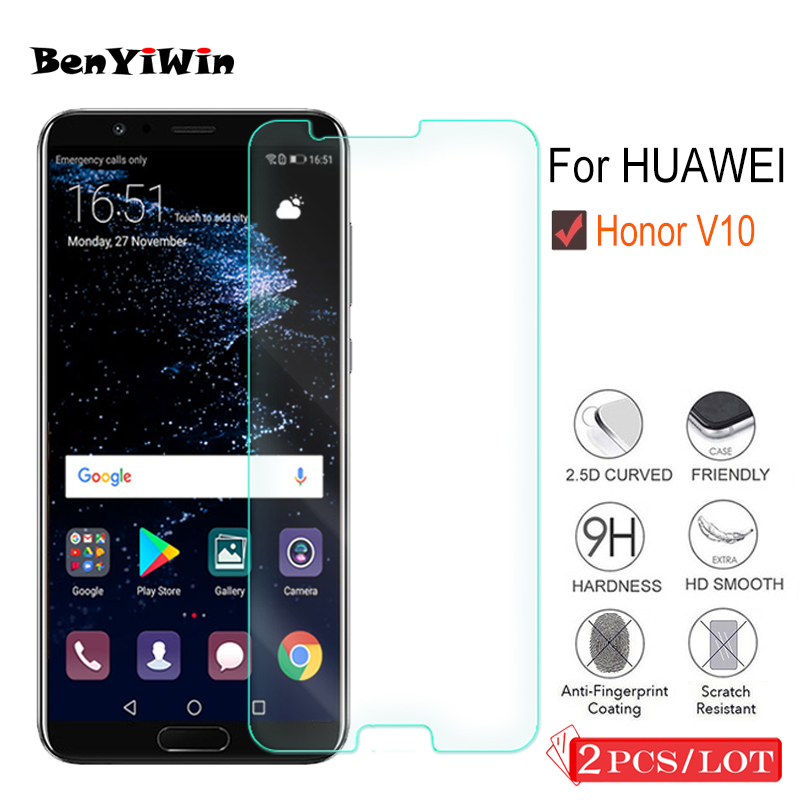 2 Pcs Premium Tempered Glass For Huawei Honor V10 Display Protector Clear Toughened Protecting Movie Case For Honor View 10 Glass