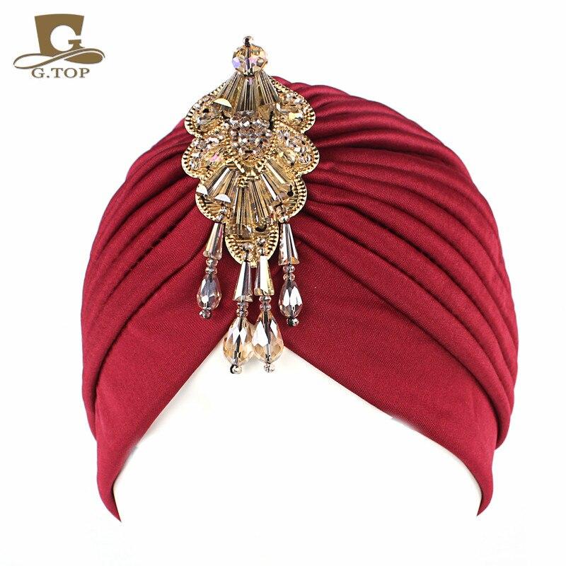 Novo luxo divas stretchable turbante cabeça envoltório chapéu com contas pingente feminino headwear